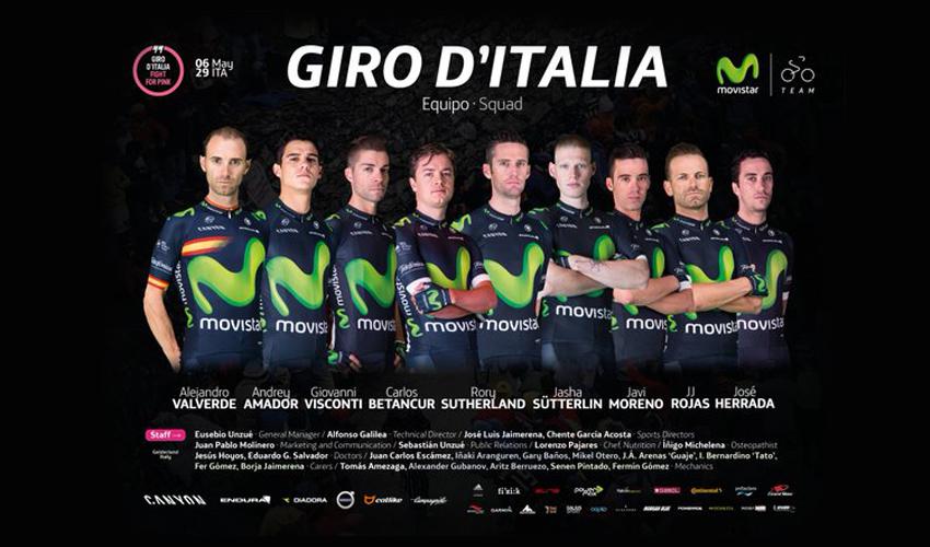 Movistar Team desvela su alineación para el Giro