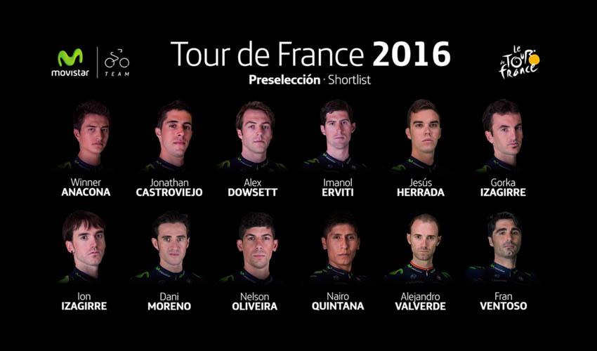 Preselección del Movistar Team para el Tour de Francia