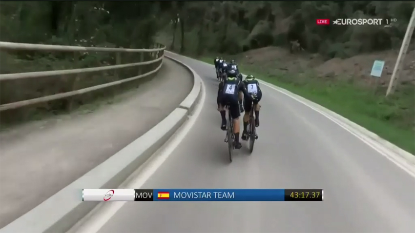 Sancionan con un minuto a todo el Movistar Team