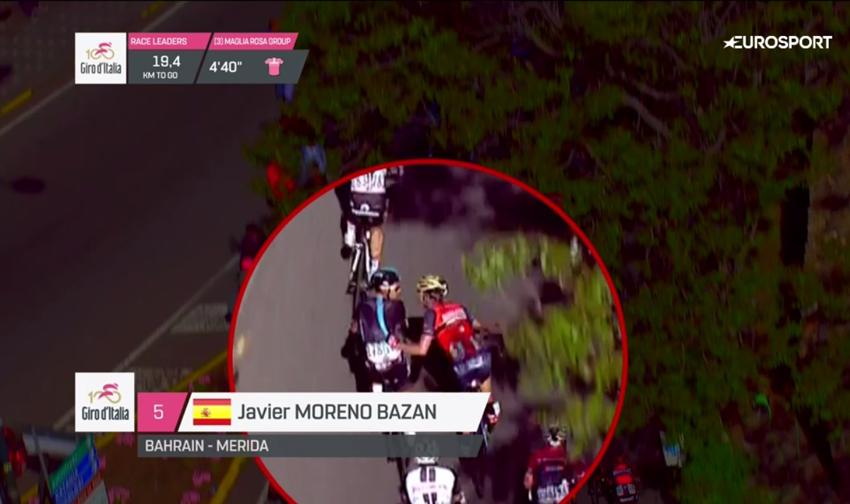 Javi Moreno, expulsado del Giro de Italia (vídeo)