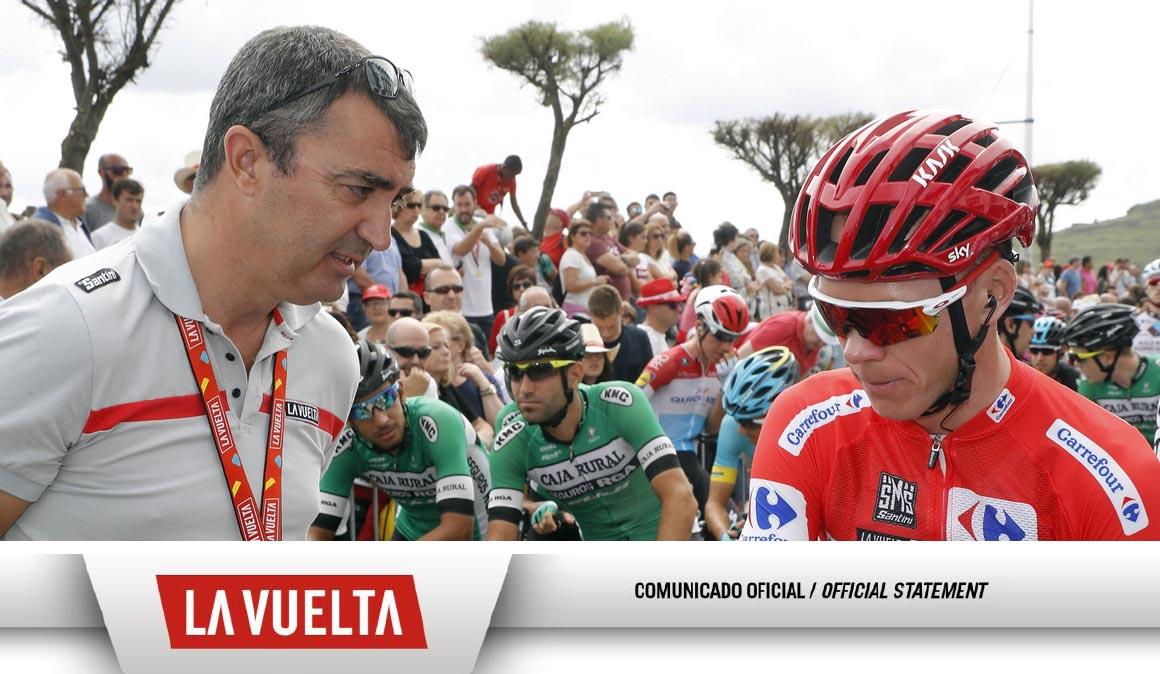 Comunicado oficial de La Vuelta a España sobre el caso del positivo de Froome