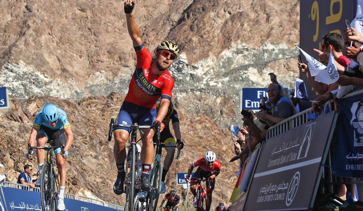 Colbrelli sorprende en la etapa reina del Dubai Tour; Viviani sigue lider