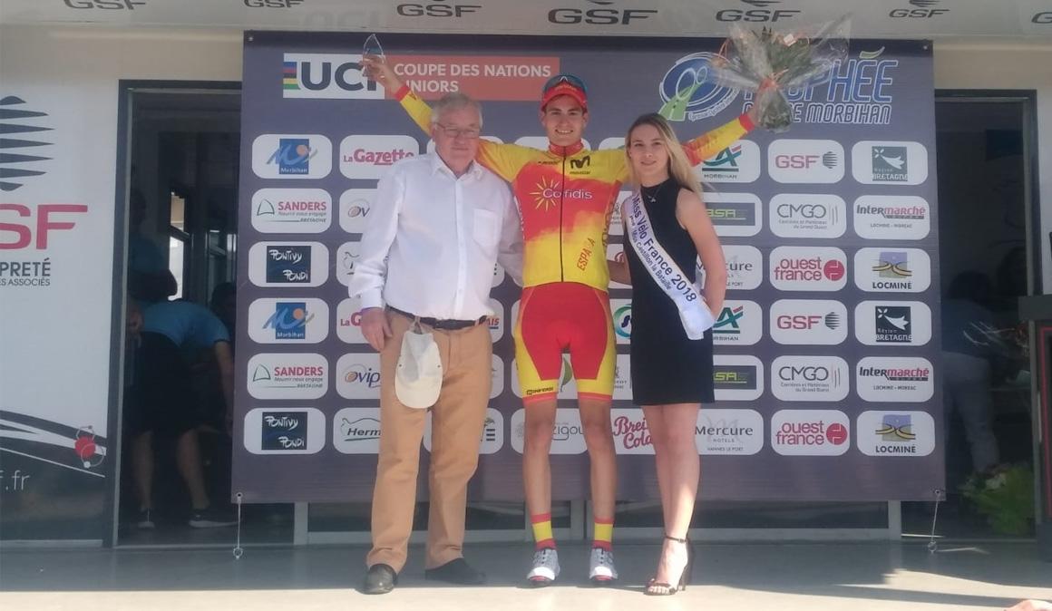 Carlos Rodríguez, vencedor de la última etapa de la Copa de las Naciones Junior en Morbihan