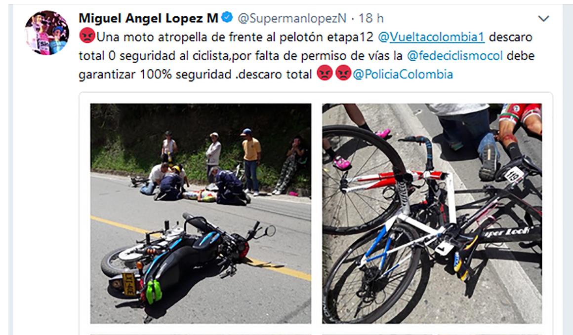 Indignación por el atropello de varios ciclistas por parte de una moto en plena etapa de la Vuelta a Colombia