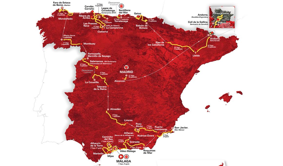El recorrido de la Vuelta a España al detalle