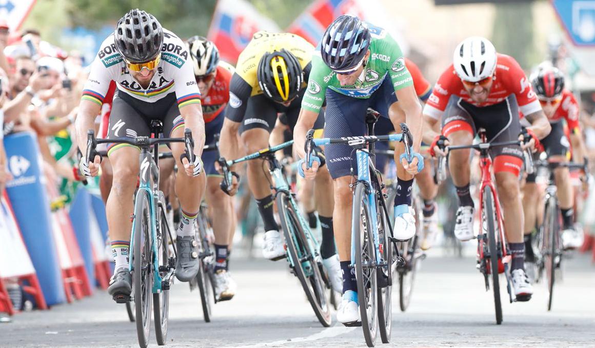 Alejandro Valverde bate a Peter Sagan en la llegada a Almadén
