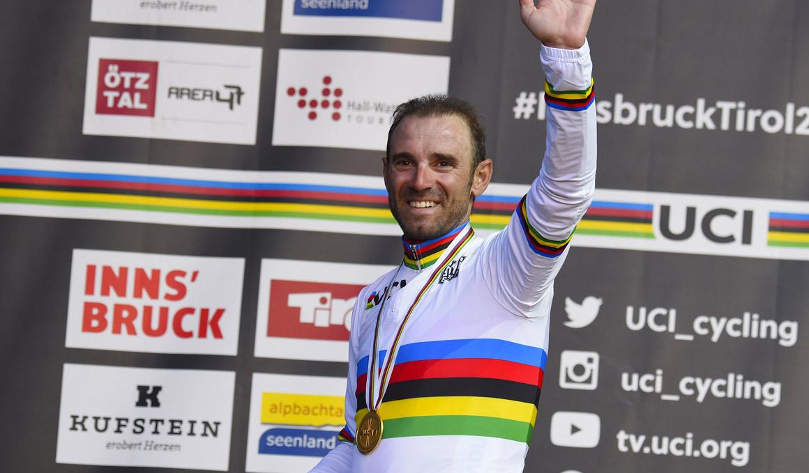 Valverde estrena el arcoíris afianzado como líder del UCI World Ranking