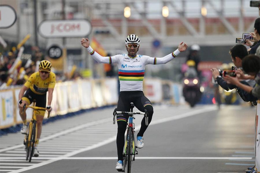 """Alejandro Valverde: """"Es genial, mi primera victoria con el maillot arcoíris"""""""
