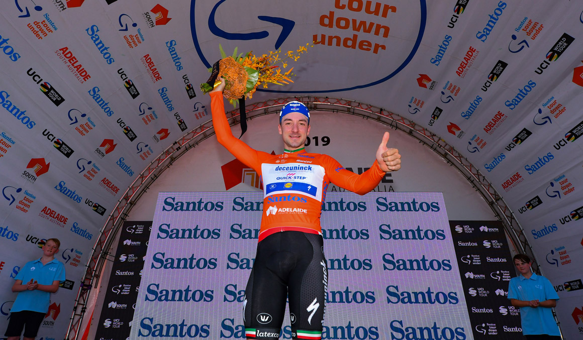 Elia Viviani, primer líder del Santos Tour Down Under
