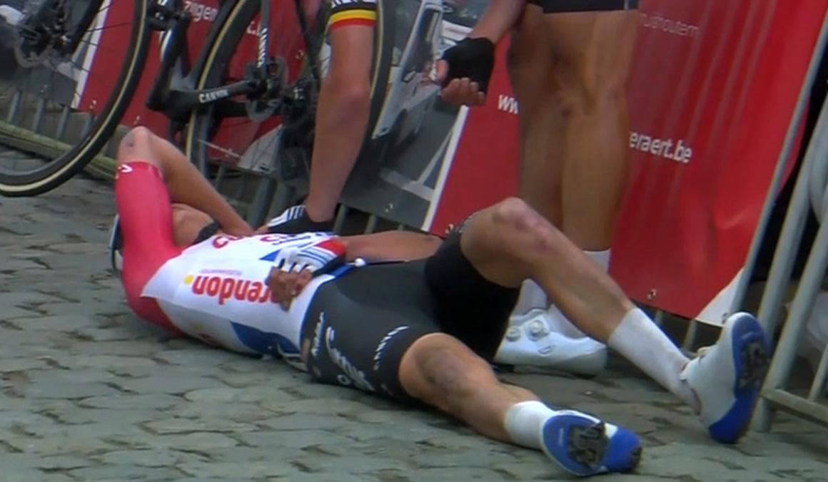 Van der Poel no sufre fracturas tras su dura caída en la Nokere Koerse