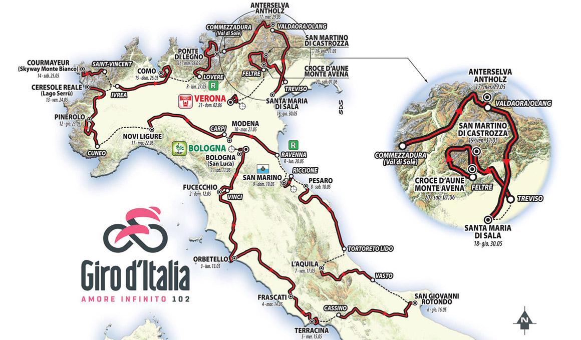 Giro de Italia: recorrido y perfiles de todas las etapas