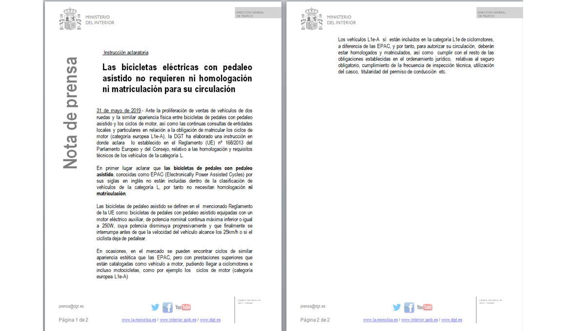 La DGT  aclara la legislación sobre la homologación de bicicletas con asistencia eléctrica